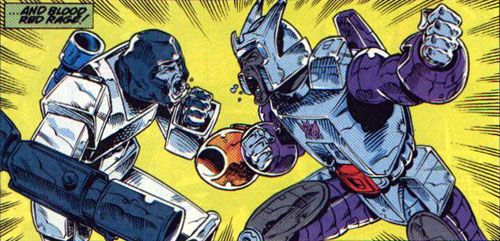 """Megatron and Galvatron finally encounter one another, near the end of the U.S. """"Transformers"""" comic run."""
