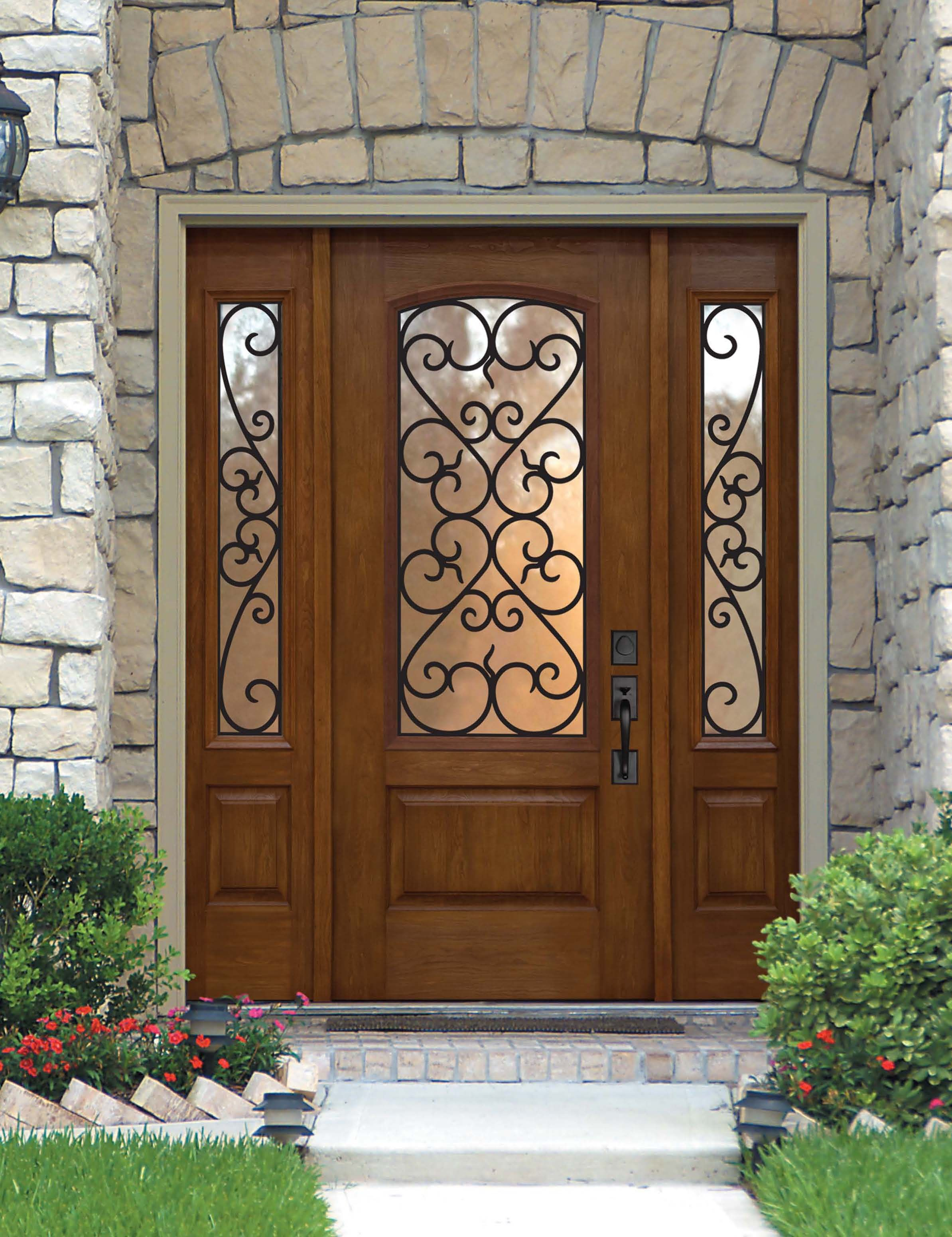 Palermo fiberglass door prehung tempered glass double for Double front entry doors