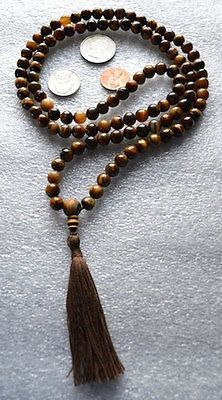108 Tiger Eye Handmade Mala Beads Necklace-Blessed