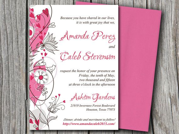 Wedding Invitation Microsoft Word Template | Garden Love | Pink Gray Brown  Flower Hearts Love Bird