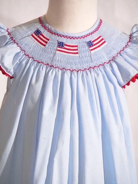 American Flag Smocked Bishop Dress By Mom N Me All
