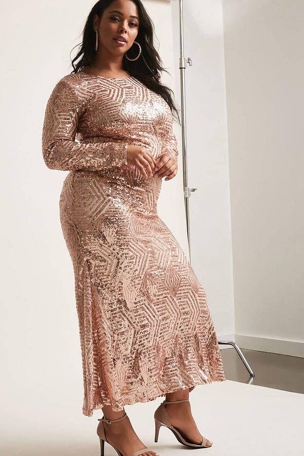 947223bb96 FOREVER 21+ Plus Size ETA Sheer Mesh Sequin Maxi Dress