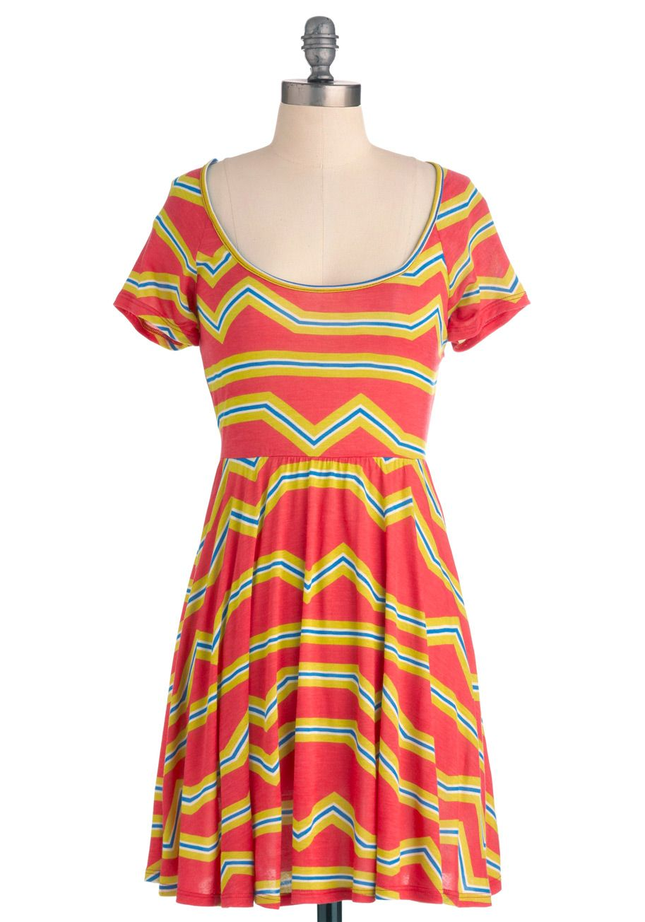 Belle of the pinball dress midlength casual orange yellow