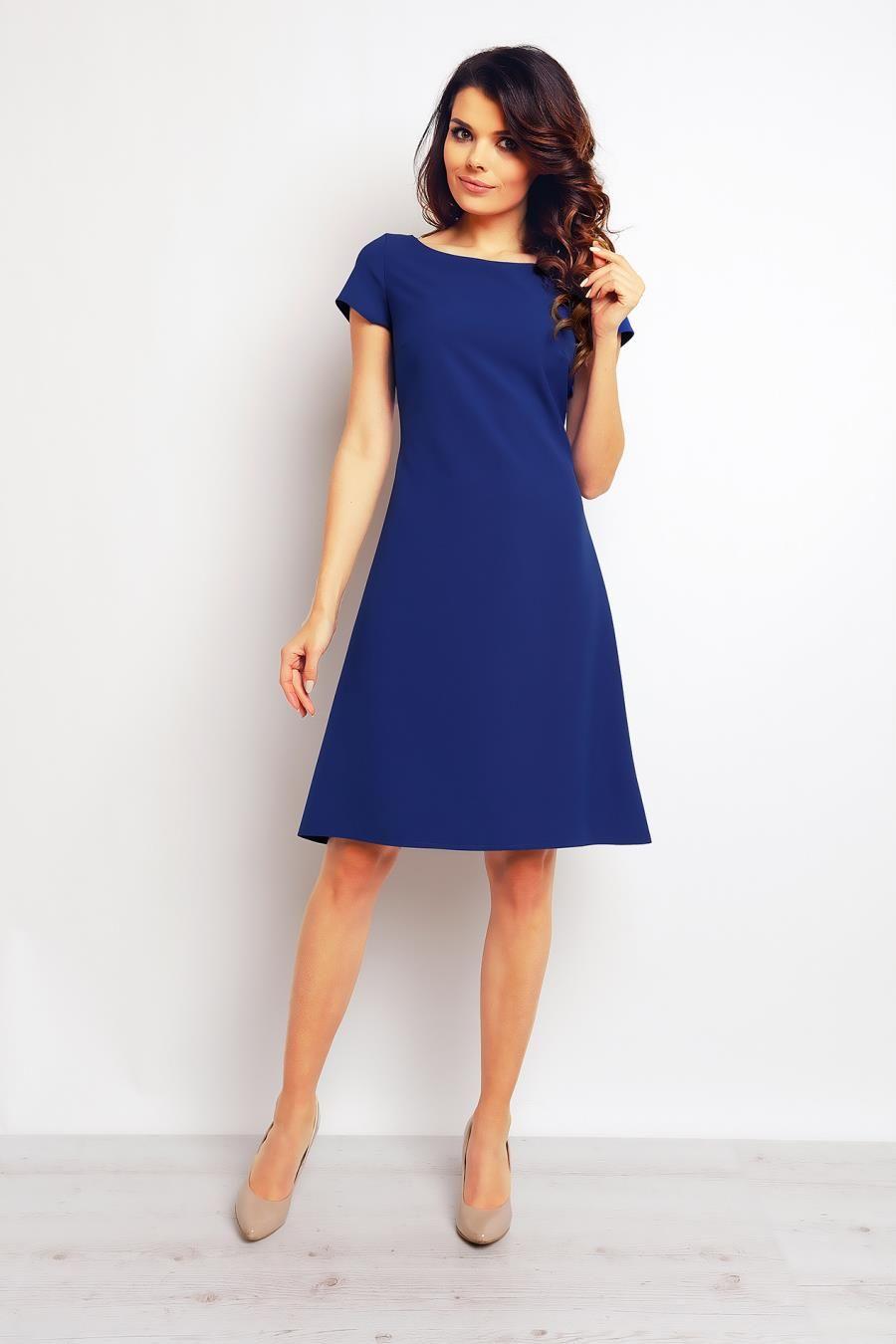 21fd759716 Sukienka Rozkloszowana Niebieska M86