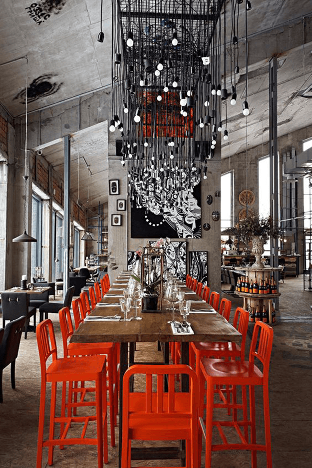 Pantone Aurora Red Concepts And Colorways Restaurant Interior Restaurant Interior Design Cafe Design