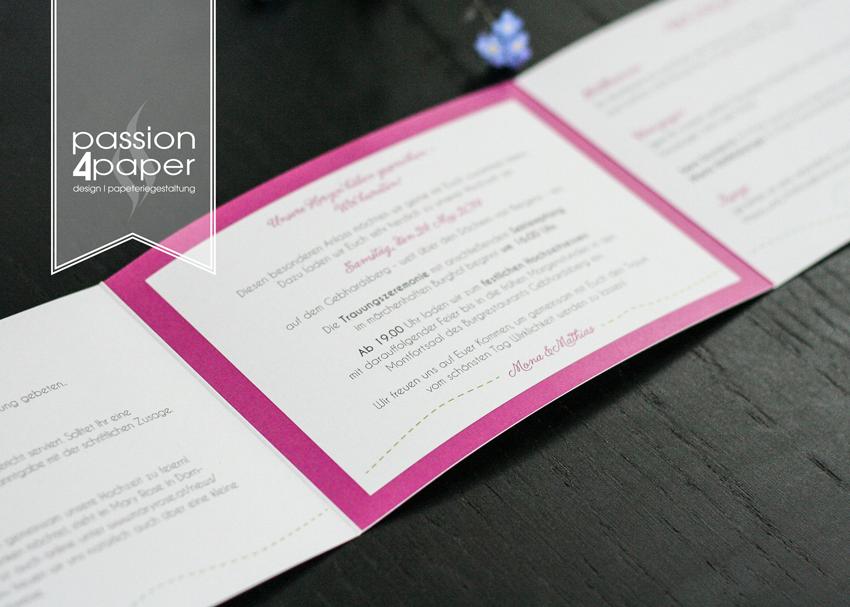 einladung zur hochzeit dreiteilige faltkarte klappkarte in pink gr n und wei mit einlegern. Black Bedroom Furniture Sets. Home Design Ideas