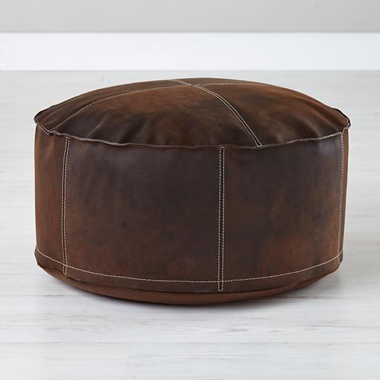 Sit in Style Leather Pouf in All New   The Land of Nod   Apartment ...