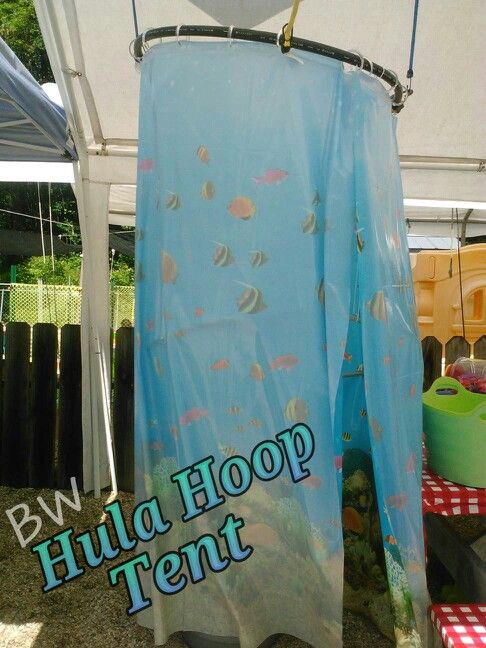 New Brightly Wound Hula hoop + bungee cord + 2 shower curtains = DIY  HC43