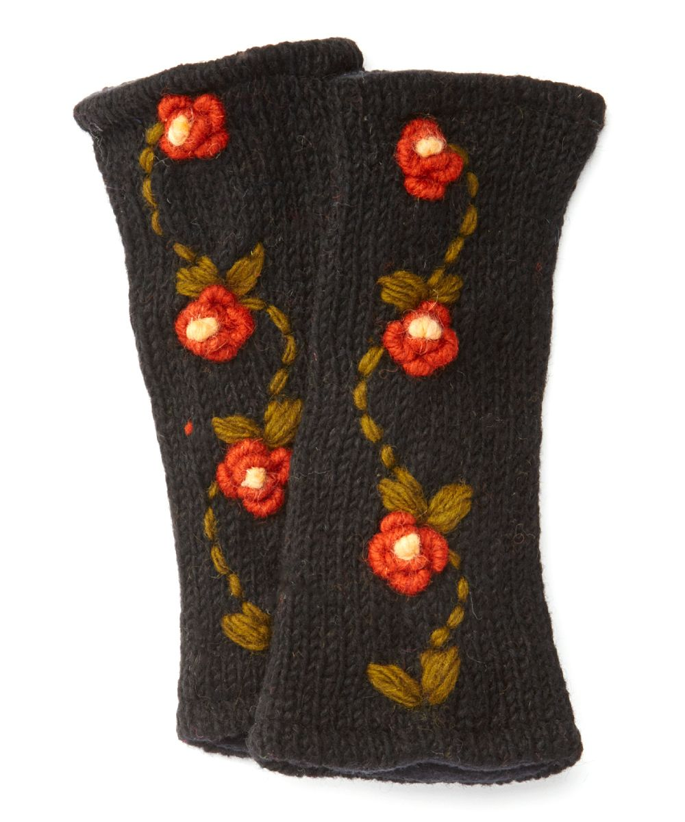Embroidered Vine Wool Arm Warmers