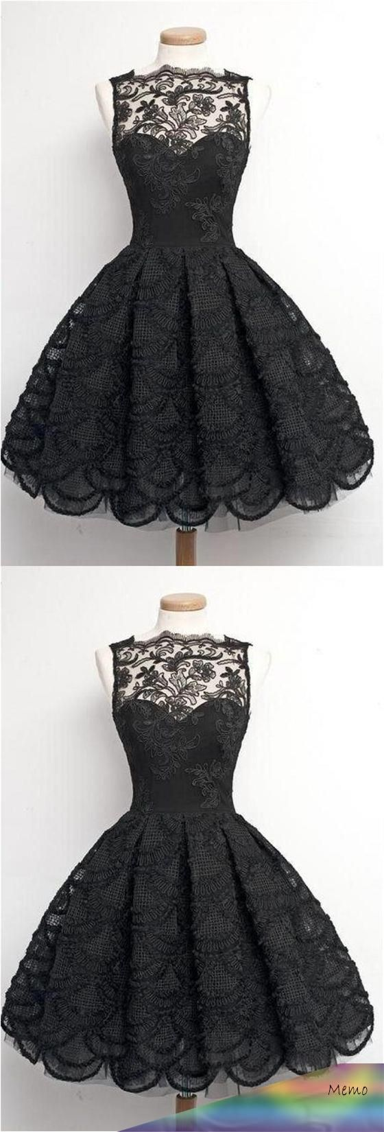Simple Black A Line Sweetheart Knee Length Homecoming Dresses Lace