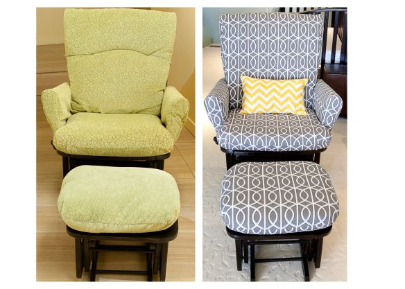 Glider Reupholstry Project For Gray And Yellow Nursery I Ve Been Wanting To Do