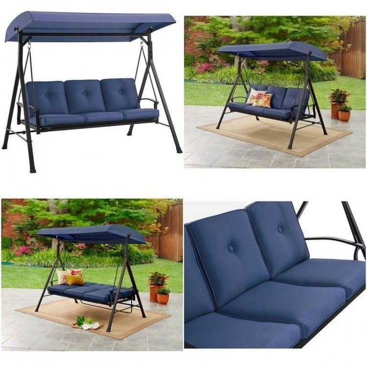 Details About Metal Porch Swing Bed Canopy Rocker Hammock Outdoor Patio  Garden Furniture Blue