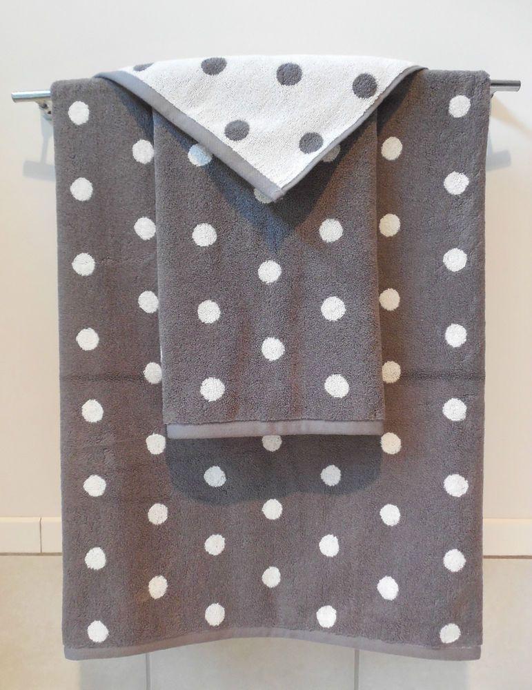 Cynthia Rowleygray Whitepolka Dot3pc Towel Set1 Ea Bath Hand