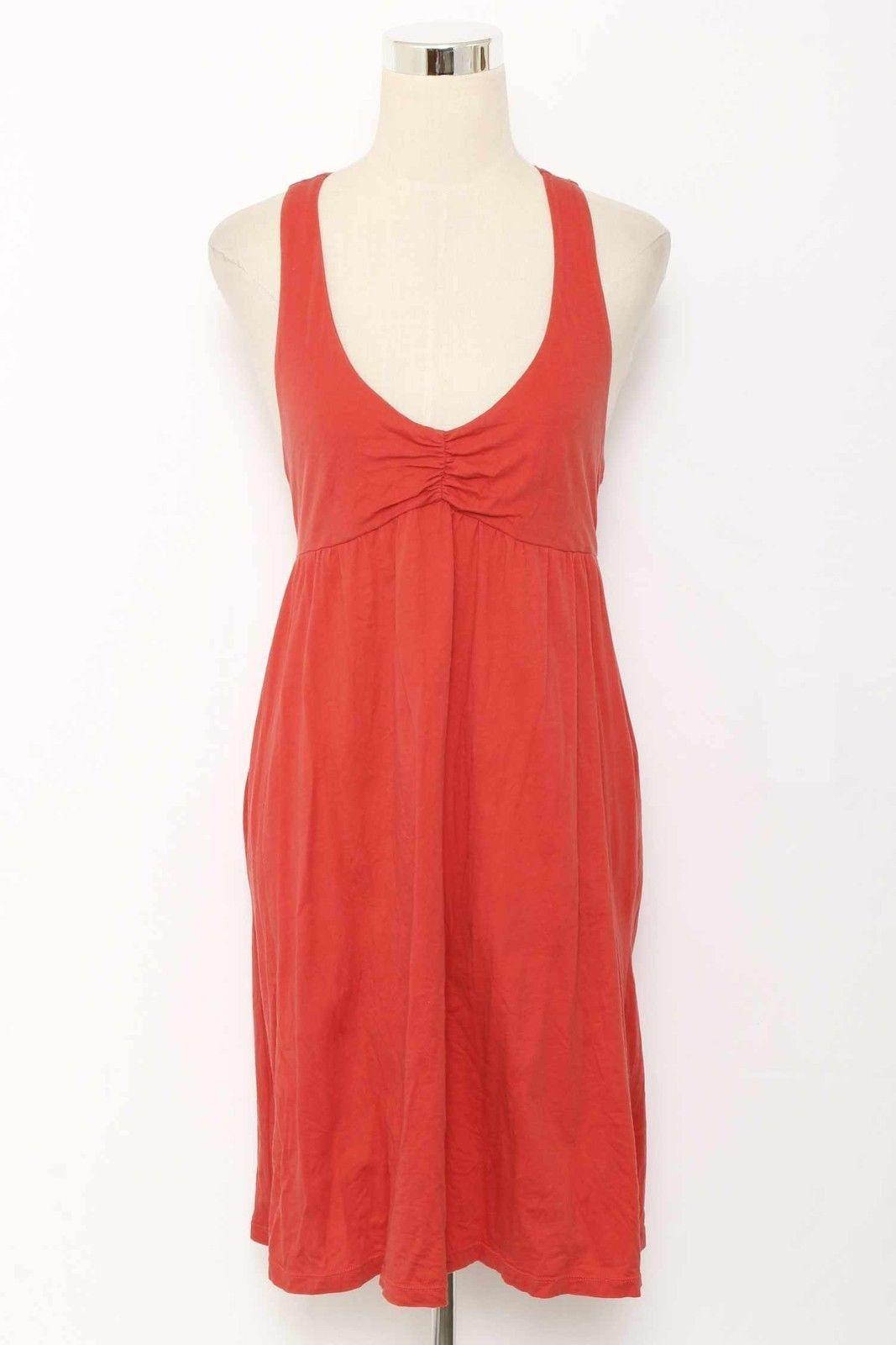 Lilka dark coral empire waist vneck racerback cotton dress size m