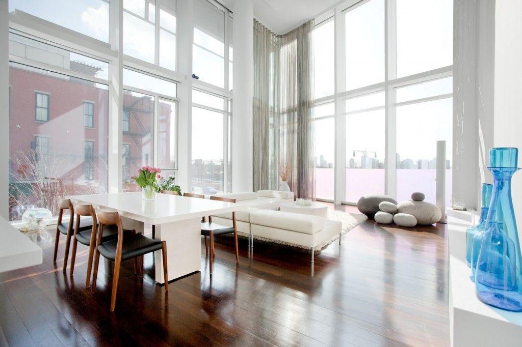 White Lounge Dining Room Design