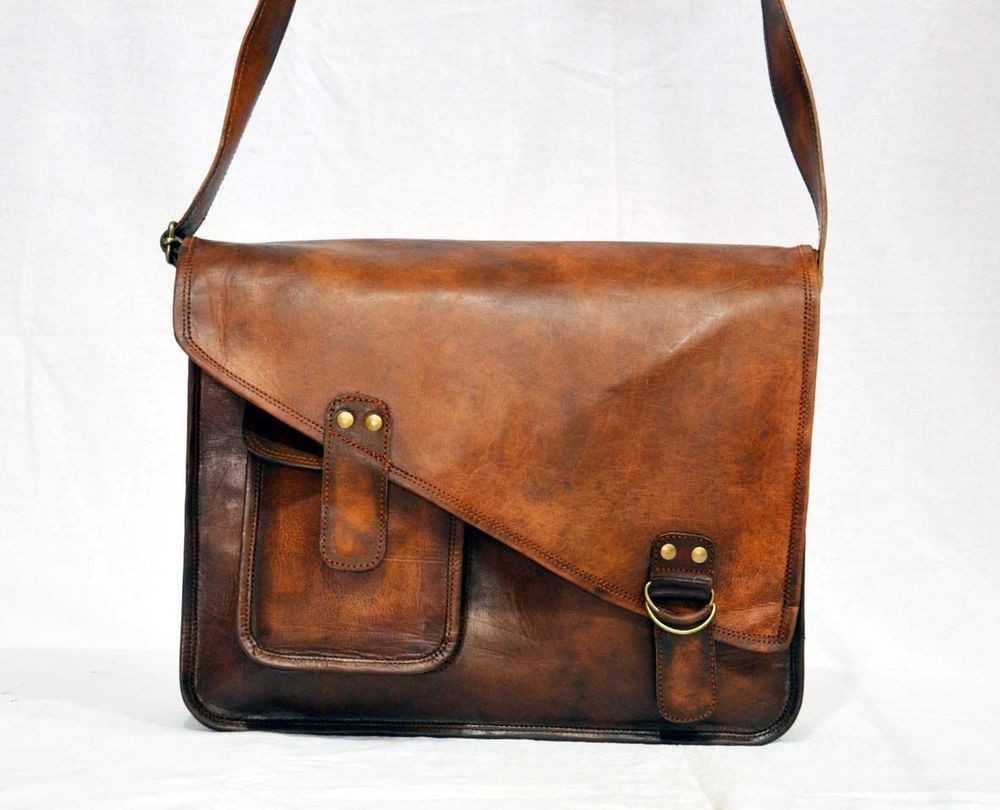 Mens Genuine Leather Satchel College Messenger Bag Office Laptop Briefcase  Bag  Handmade  MessengerShoulderBag 6584f06d37bf8
