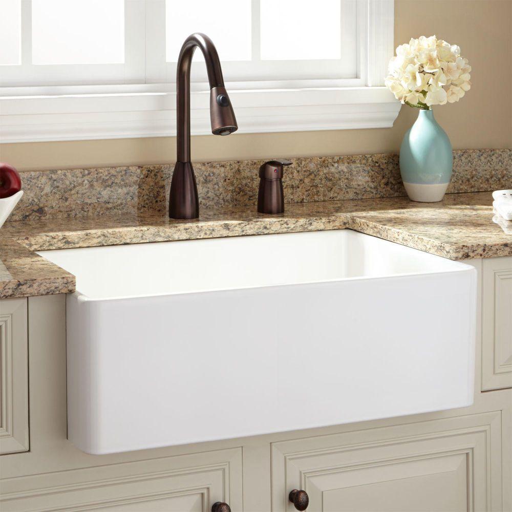 White granite apron sink - 30 Baldwin Fireclay Farmhouse Sink Smooth Apron White