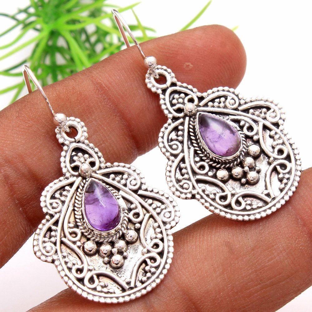 Beatiful Earring Gift For Her Handmade Earring Amethyst Earring Gemstone Earring Woman Earring Dangle Earring 925 Silver Earring