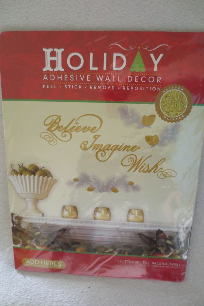 Add Heres Holiday Christmas Adhesive Wall Decor Glitter New  #ADDHEREs