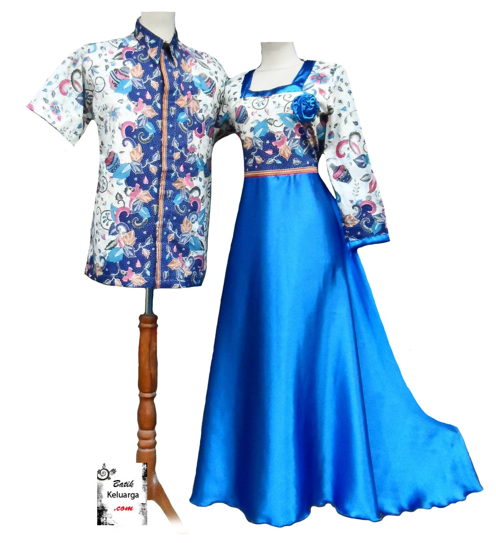 Baju Muslim Biru Bk0256 Batik Keluarga Batik Modern