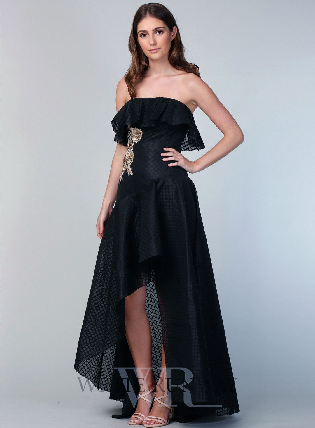 217de7a919 Black Elevation Gown. A gorgeous full length dress by Grace   Hart. A  strapless style featuring frill neckline