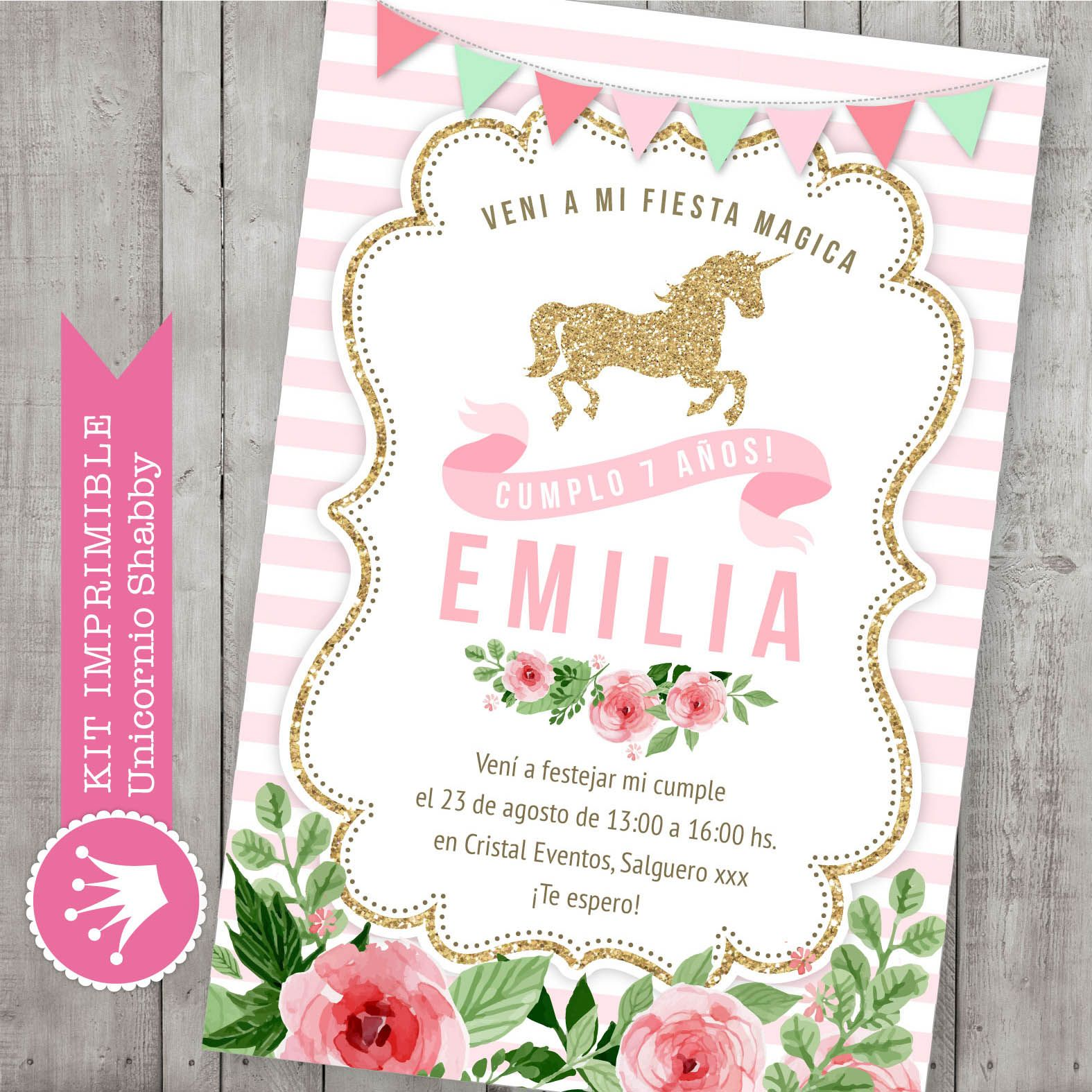 Kit imprimible digital para cumplea os unicornio con - Decoracion estilo shabby chic ...