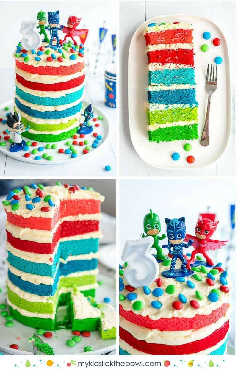 Awe Inspiring Pj Masks Cake Recipe With Images Boy Birthday Cake Pj Masks Birthday Cards Printable Nowaargucafe Filternl