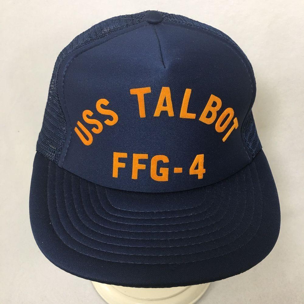 8fba3ce6a86 VTG Designer Awards USS Talbot FFG-4 Snapback Hat Blue Mesh Foam Trucker Cap