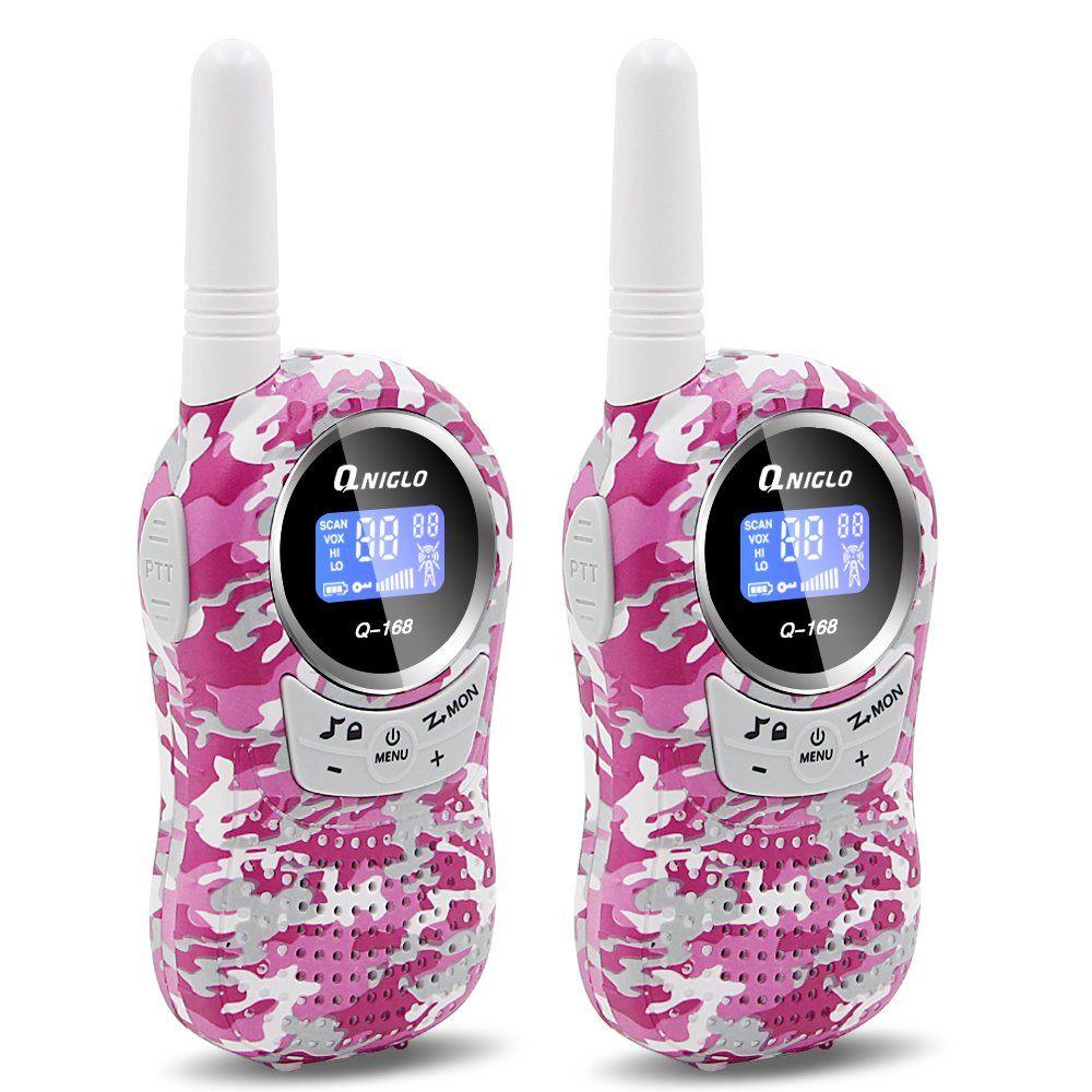 6766e442e6d Walkie Talkies for Kids - QNIGLO Kids Walkie Talkie Q168 Two-Way Radio Long  Range 3 Miles Range 22 Channels Walkie Talkies for Boys Girls (Camouflage  Pink)