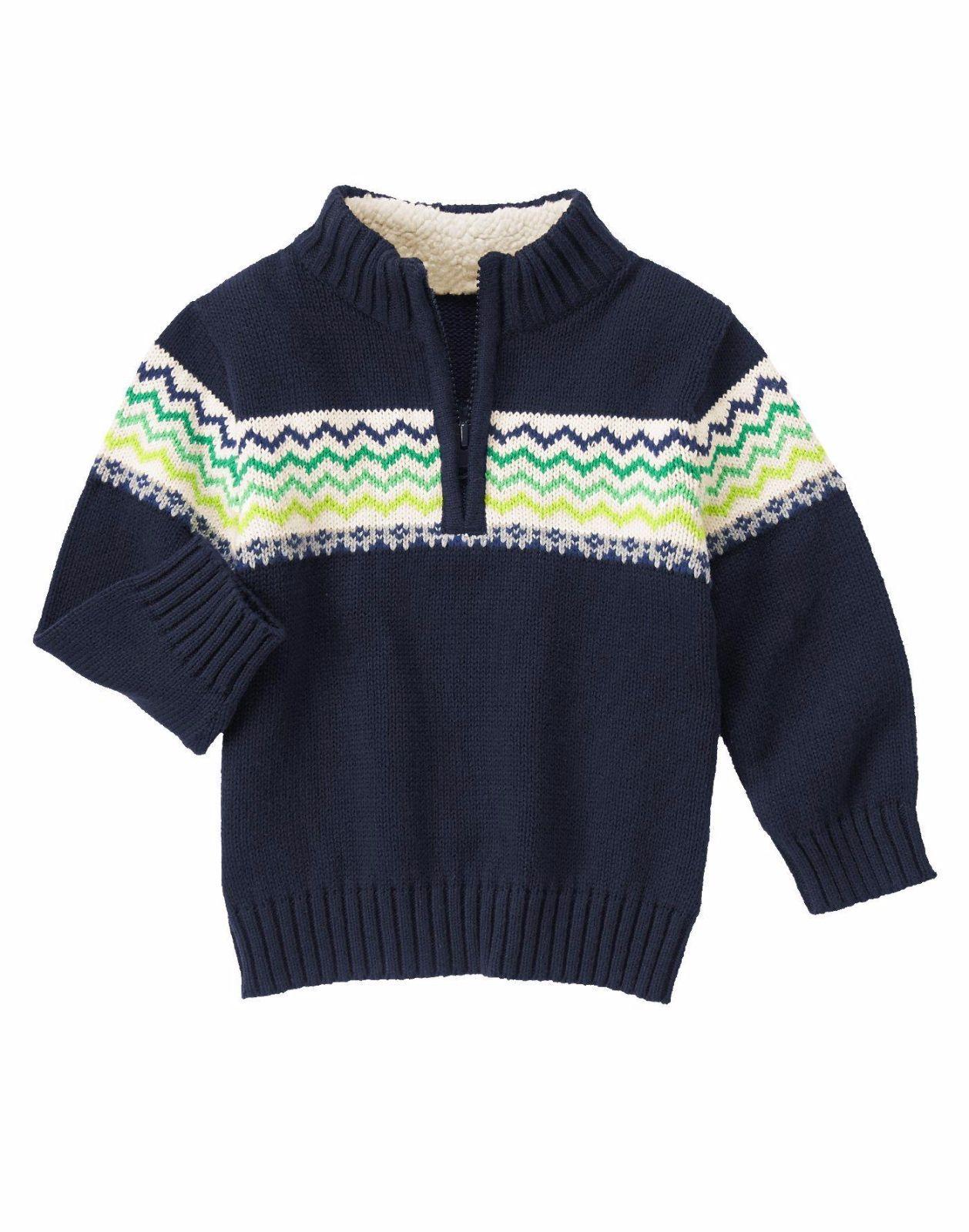 8db4e2b6e59 GYMBOREE Baby Boys Half Zip Fleece Collar Pullover Long Sleeve Sweater Navy  6-12 Mo