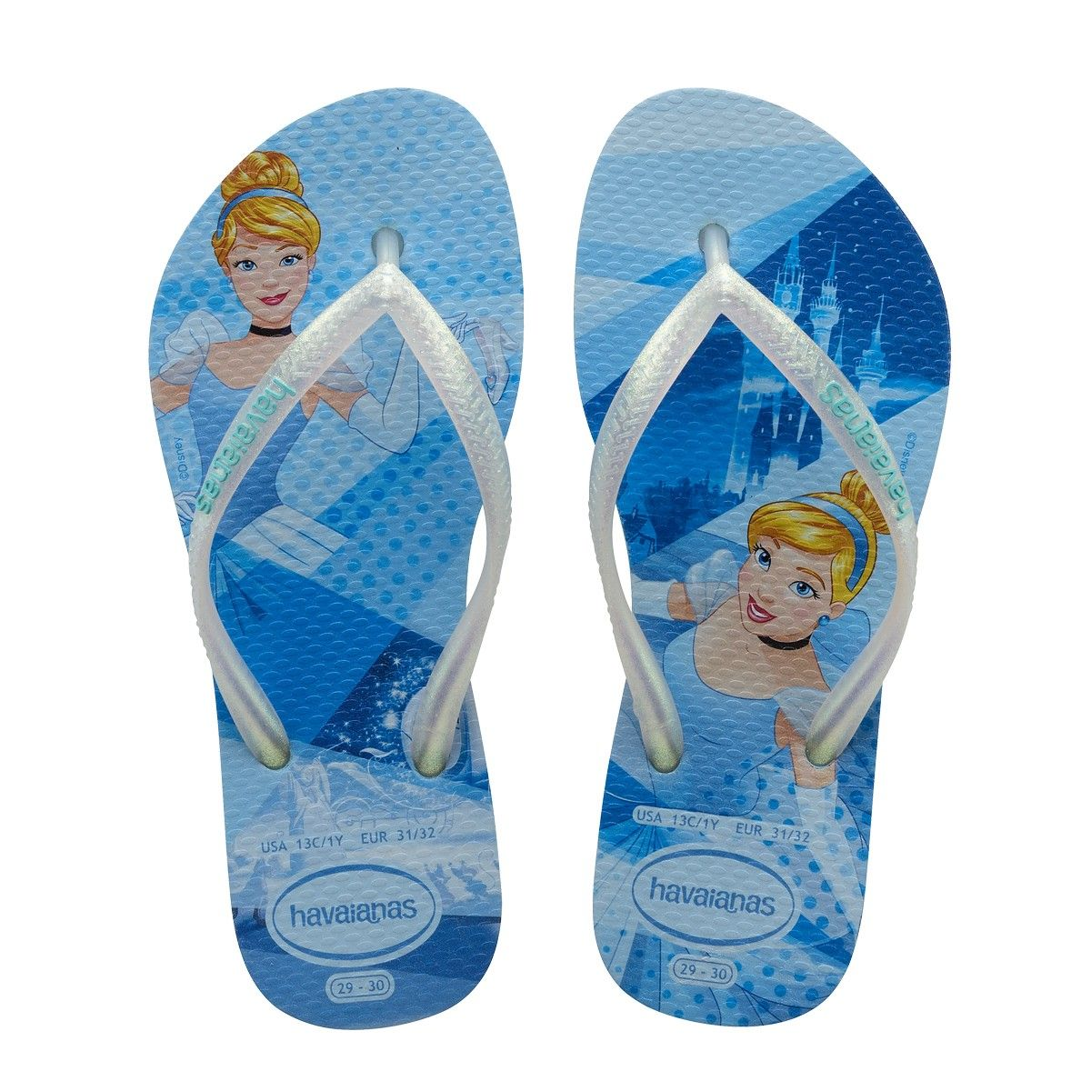 beauty how to buy new lower prices Havaianas Kids Slim Disney Princess Cinderella Flip Flops Blue ...