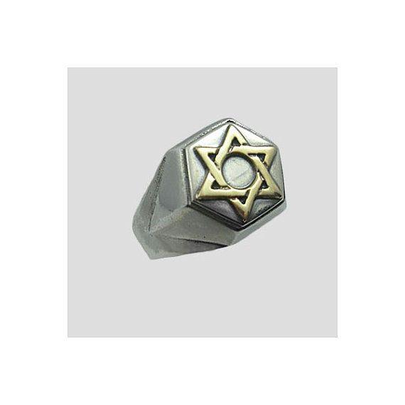 Homens Signet anel de prata com estrela de ouro de navio David.Free