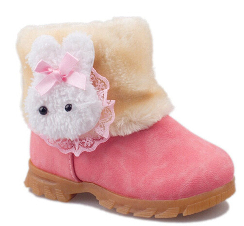 Toddler//Little Kids Toddler Snow Boots Baby Girls Winter Fur Rabbit Shoes