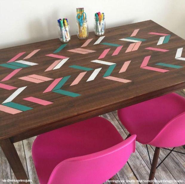 Wall, Floor & Furniture Stencils Inspire Interiors on Instagram - 23 Easy DIY Decor Ideas - Royal Design Studio