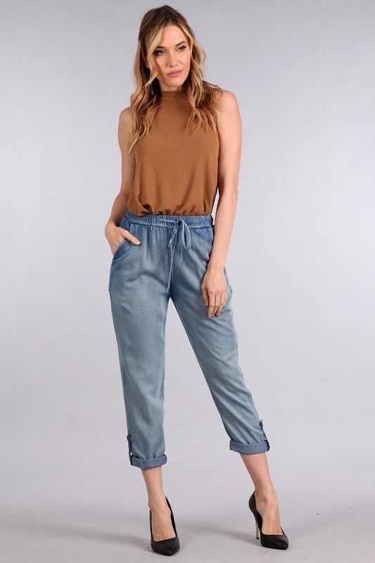 OMG Gotta have this! Denim Cropped Pants And you can just click here http://www.rkcollections.com/products/sj3783?utm_campaign=social_autopilot&utm_source=pin&utm_medium=pin
