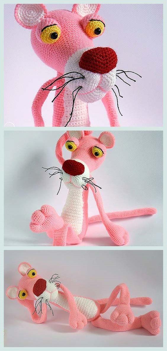 Amigurumi Pantera Cor de Rosa - Pink Panther Amigurumi | 1182x564