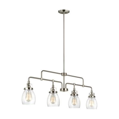 Belton 40 75 In W 4 Light Brushed Nickel Island Pendant With Clear Seeded Glass In 2020 Sea Gull Lighting Ceiling Pendant Lights Island Lighting