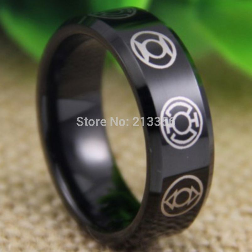 Free Shipping USA UK CANADA RUSSIA Brazil Hot Selling 8MM GREEN LANTERN Darkest Night Black Beveled Tungsten Wedding RingsGreen