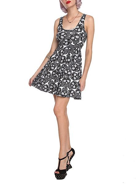 Sugar Skull Black & White Dress   Hot Topic