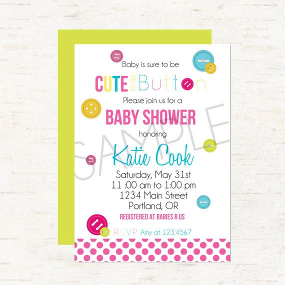 Cute As A Button Baby Shower Invitation Or Evite For A Girl Or Gender  Neutral,