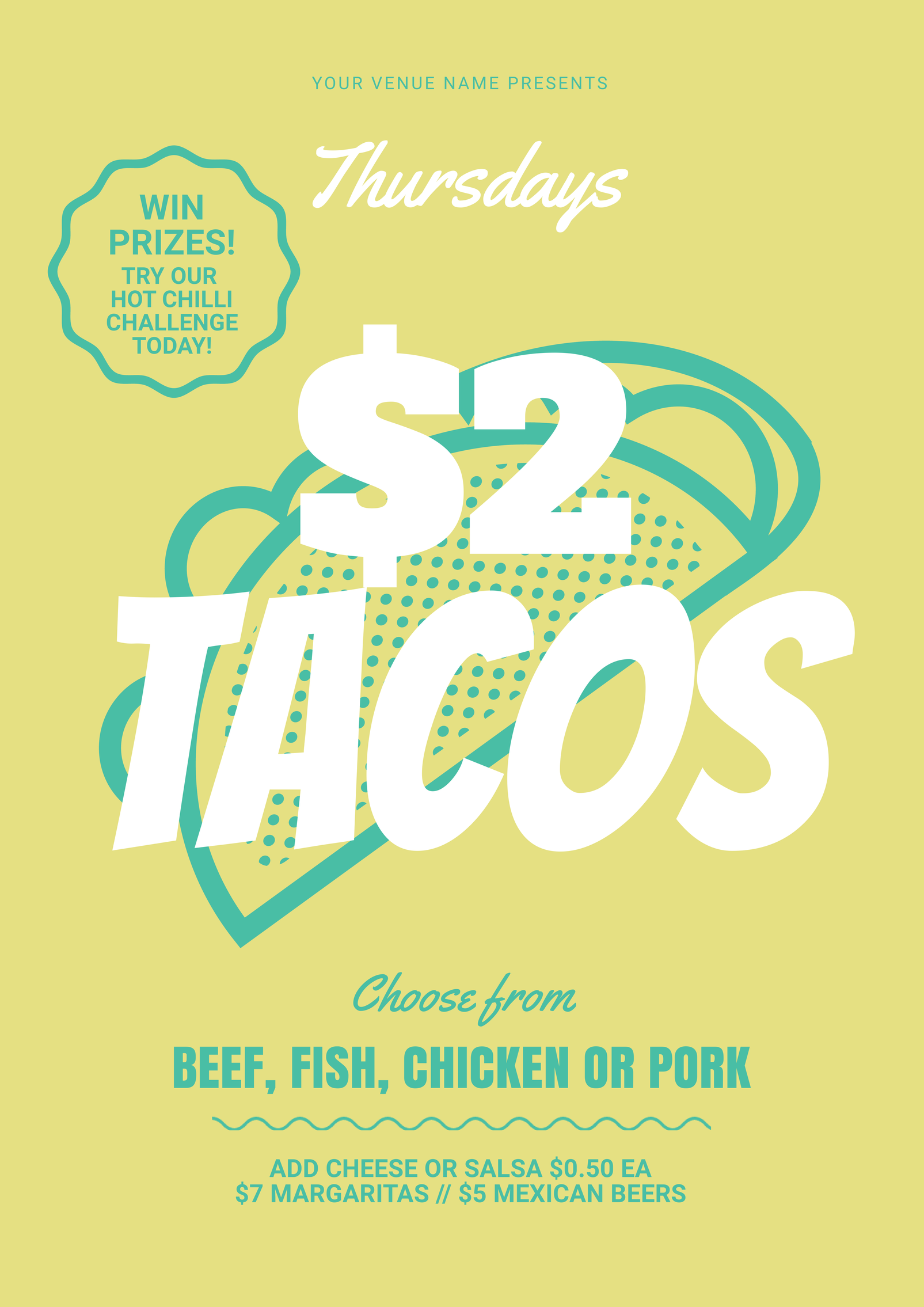 $2 Tacos poster template. Our professionally designed templates can be  updated in your browser -