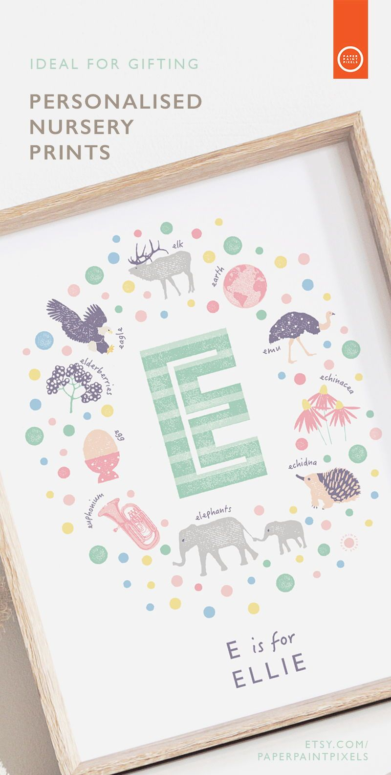 Personalised Baby Girl Name Art Letter E Nursery Wall Art Etsy Nursery Wall Art Etsy Nursery Name Art Personalized Nursery Print