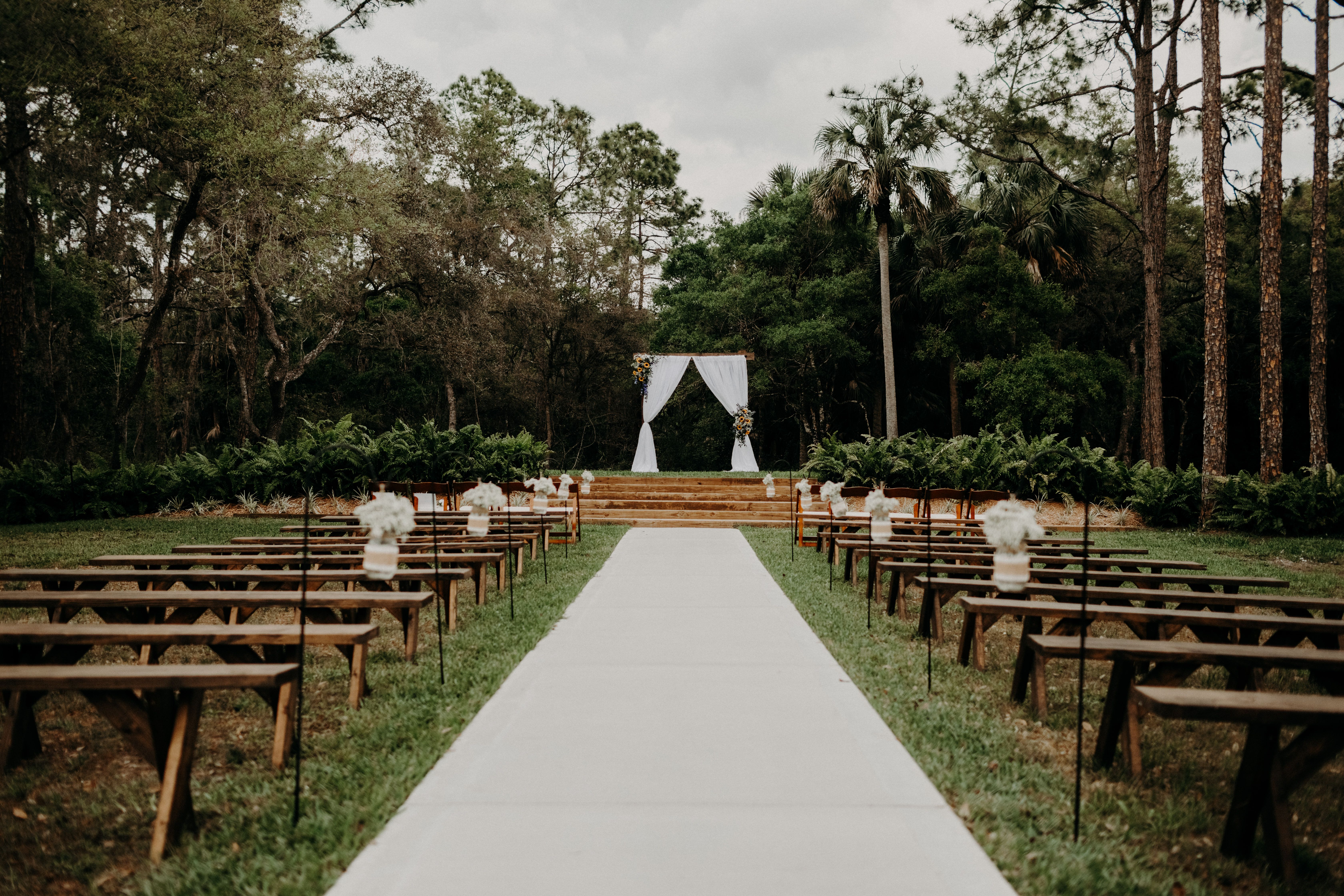 Love how these benches look at our ceremony hill! Rustic