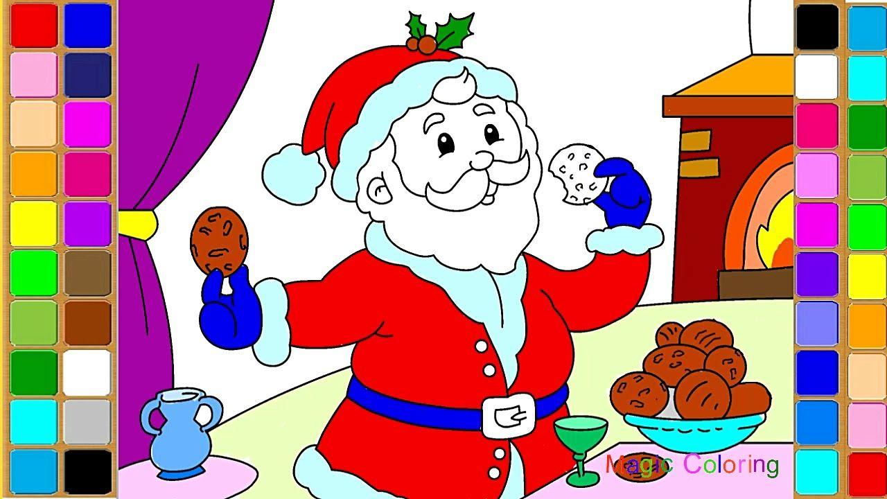 Santa Claus Eating Cookies Christmas Coloring Pages Magic Drawing And Christmas Coloring Pages Christmas Colors Magic Drawing