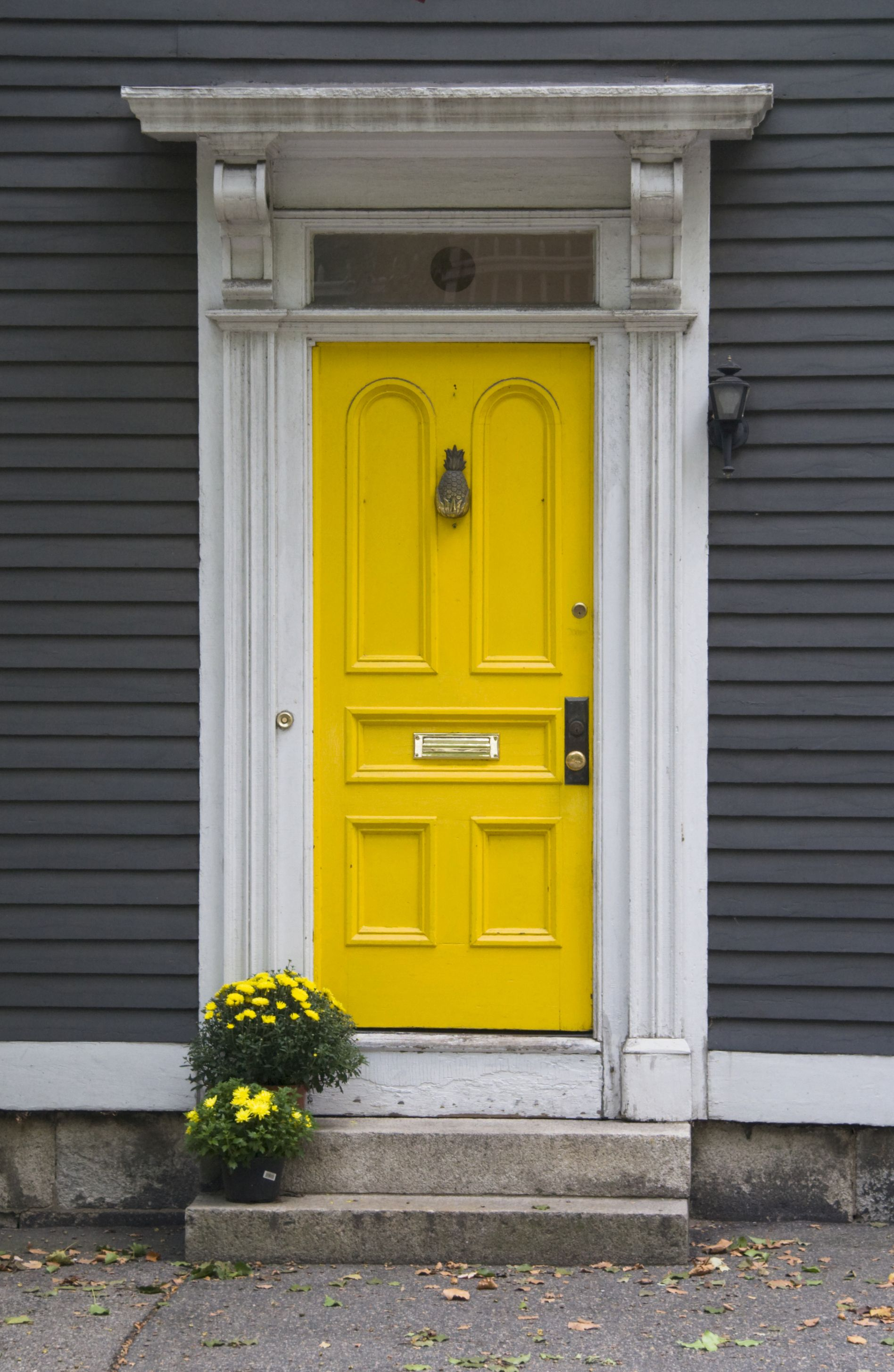 Seriously Considering This Color Combination Yellow Door And Gray Exterior With White Trim