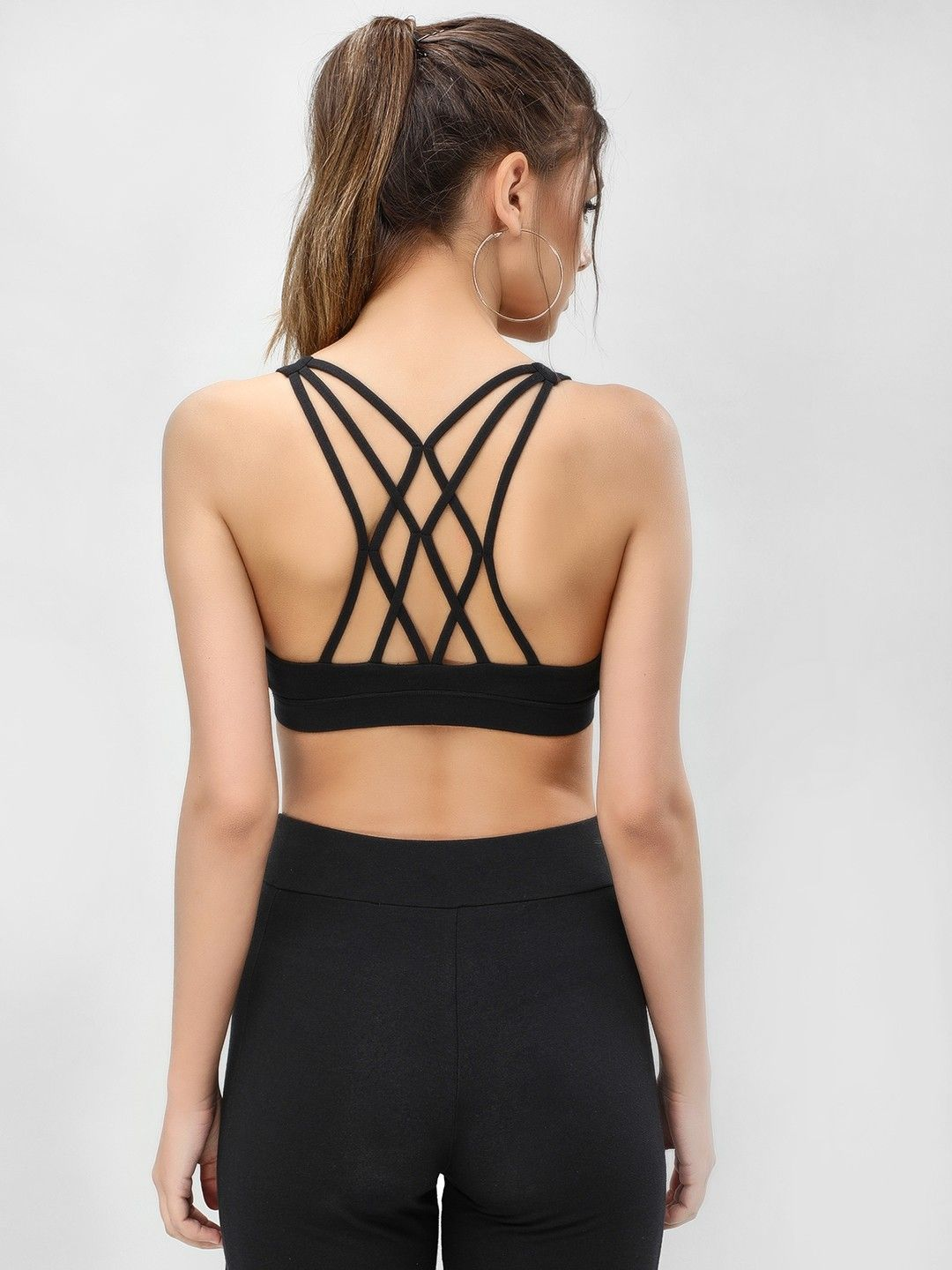 3a3a8318b0f Buy K ACTIVE Black KOOVS Strappy Back Crop Top for Girls Online in India