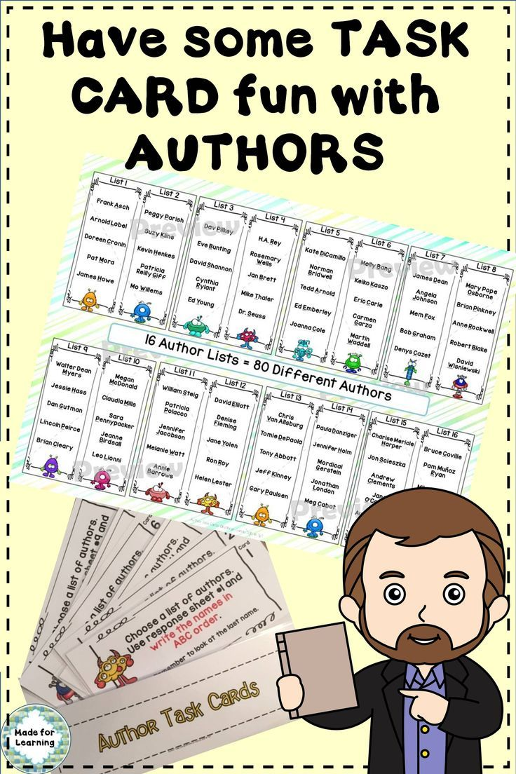 Library Skills Author Search Task Cards in the Media Center ...