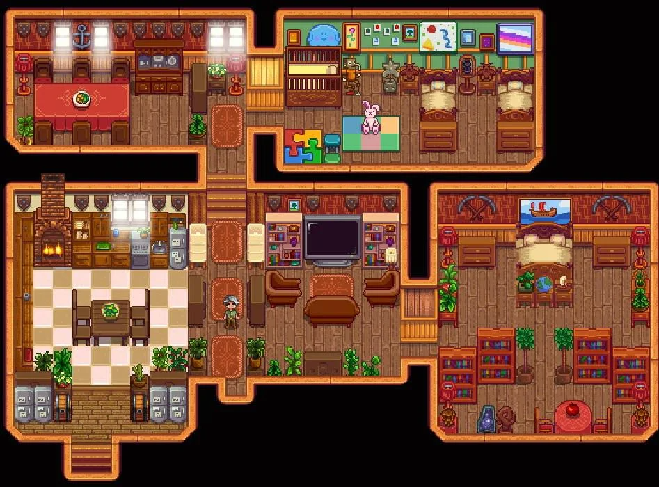 My Cosy Plant Home Finally Happy With It Now To Marry Someone With A Nice Room To Go With It Star Stardew Valley Stardew Valley Layout Stardew Valley Tips