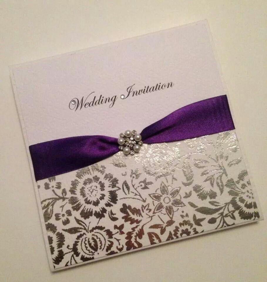 Carlson Craft Pocket Wedding Invitations: Purple Wedding Invitations