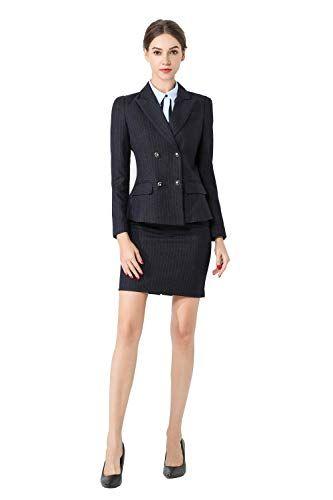 50905321deb Rojeam Ensemble de vêtements de Bureau à Rayures élégant pour Femmes Jupe  Pantalon Chemise Blazer